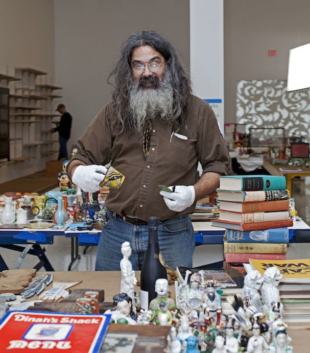 Artist Peter Broda at the beginning of the installation process. Photo: Gene Pittman