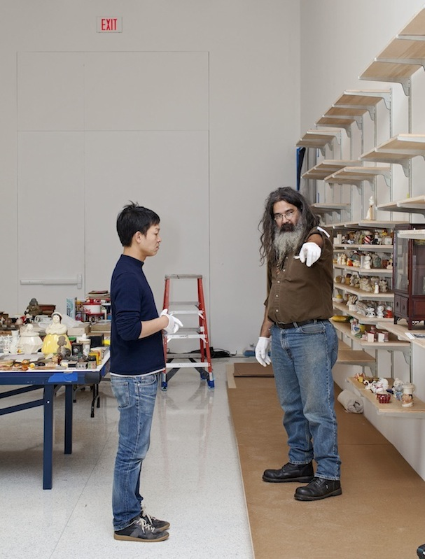Danh Vo getting some installation help from Peter Broda. Photo: Gene Pittman