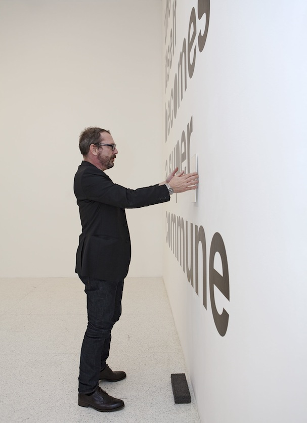 Liam Gillick putting on some finishing touches. Photo: Gene Pittman