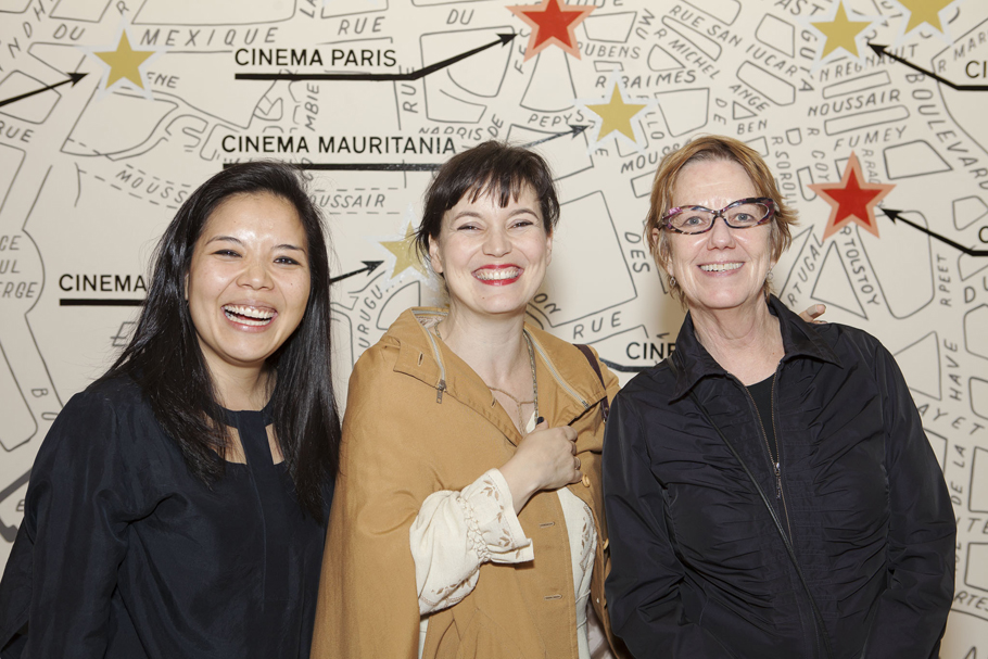 Curator Clara Kim, aritst Yto Barrada, and film curator Sheryl Mousley