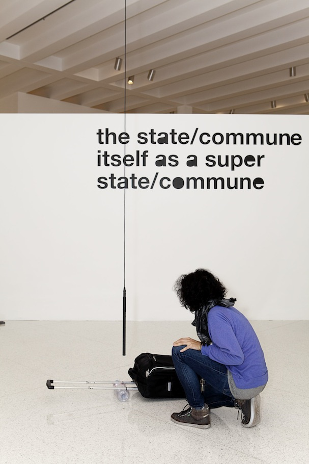 Natascha Sadr Haghighian with her piece _de paso_ (2011)—with part of Liam Gillick's installation in the background