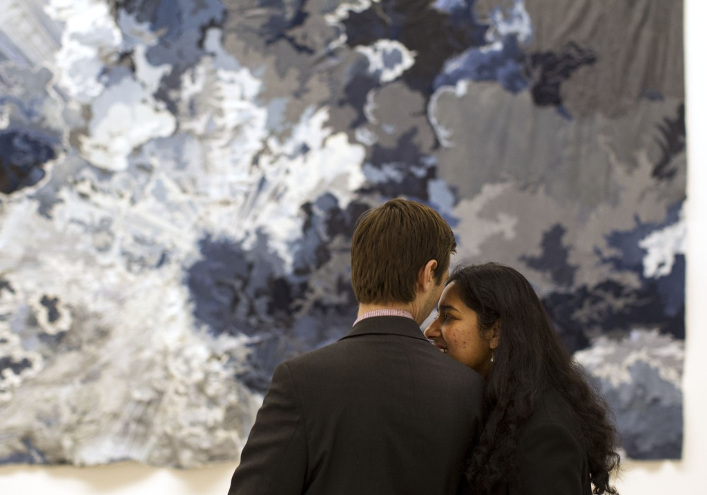 Gazing at the 24-foot-long denim sky that is Untitled (one day it all comes true), 2013