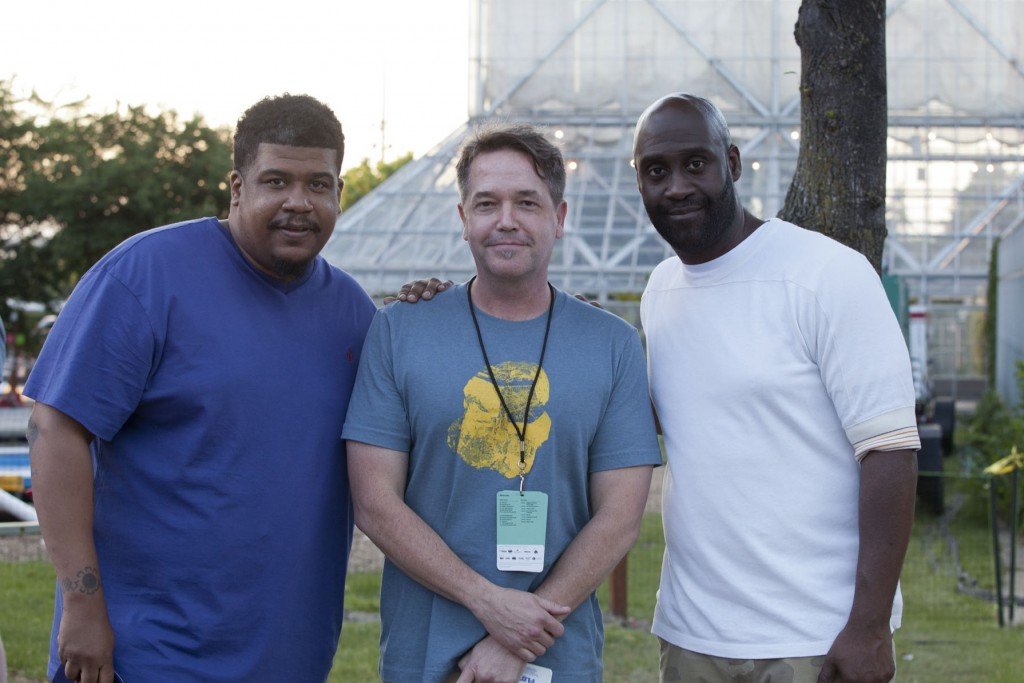 Performing Arts Associate Curator Doug Benidt with De La Soul's David Jude Jolicoeur and Kelvin Mercer