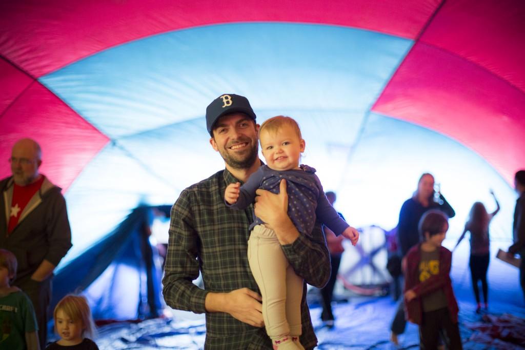 Celebrating inside a hot air balloon