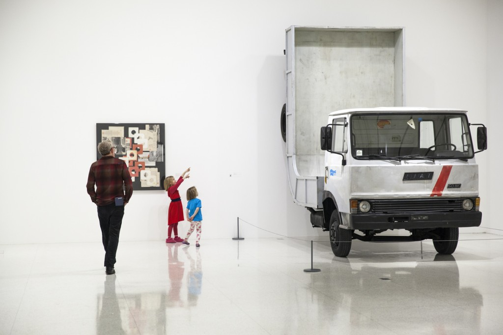 These kids were enthralled by Erwin Wurm's Truck